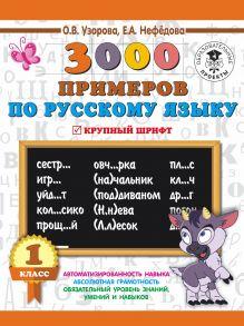 3000 примеров по русскому языку. 1 класс. Крупный шрифт. Автоматизированность навыка. Обязательный уровень знаний, умений и навыков